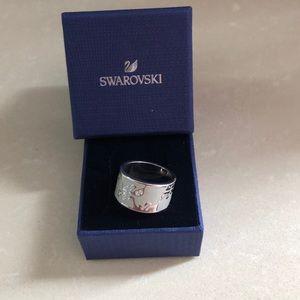 Swarovski white enamel and crystal Ring sz 8